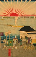 Japanese triptych print showing a busy street with people walking, riding in carriages, on horseback, and in a litter, many small and large boats sail...