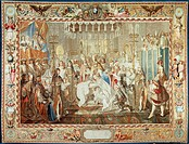 18th century French tapestry featuring the baptism of the Dauphin, from the series History of Louis XIV, 1724-30.  Versailles, Château De Versailles