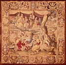 The Fall of Manna, 16th century tapestry based on a cartoon by Sersacessi, manufacture of Florence, located in the Cathedral of Como, Italy.