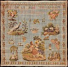 Embroidery, Germany 19th century. Beginner's work, embroidered in silk cross-stitch on linen, signed by F.C. Meyer, approximately 1820.  Celle, Stickm...