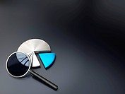 pie chart and magnifying glass on a dark grey background