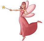 a beautiful and young fairy flying and doing some magic
