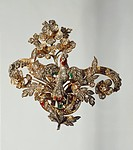 Goldsmith's art, 19th century. Diamond brooch in the shape of a branch in blossom.  Private Collection