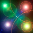 Color defocused disco light dots. Abstract lightning