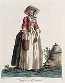Italy, 18th century. A Florentine middle-class woman. Engraving by Sylvain Marechal, 1787.  Paris, Bibliothèque Des Arts Decoratifs (Library)