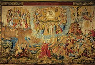 Adoration of the Mystic Lamb, detail of the 16th century Apocalypse tapestry by Wilhelm Pannemaker, manufacture of Brussels.  La Granja De San Ildefon...