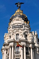 Metropolis building detail in Madrid city center Spain.