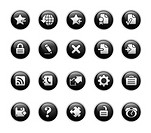 Vector icons set in glossy black buttons.
