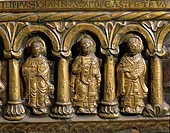 Goldsmith's art, Denmark, 13th century. Wooden altar frontal covered in gold leaf, 1225-1250, from Odder near Aarhus. Detail: Saints John, Andrew and ...
