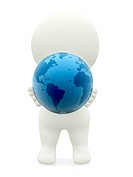 3D person holding the Earth isolated over a white background