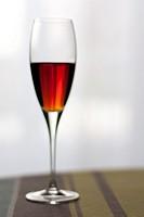 Liquor crystal glass on table