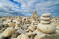 Rocks at pebble beach, Trebeurden, Cote de Granit Rose, Cote d´Armor, Brittany, France