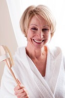 Happy Woman With Bathbrush