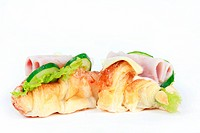 Tasty ham cheese croissant sandwich isolated on white