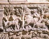 Relief from a sarcophagus depicting horses, cows and sheep in a wooded area. Roman Civilization.  Rome, Museo Nazionale Romano (National Roman Museum,...