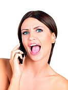 Portrait of beautiful woman, she talking cell phone
