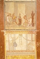 Fresco depicting meeting of Priam, Menelaus and Helen and Arisace chasing Cassandra, from House of Menander, Pompeii , Campania, Roman Civilization, 1...