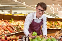 Portrait of salesman in supermarket