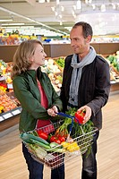 Couple at shopping in supermarket