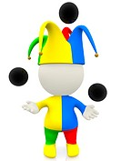3D jester or clown juggling with balls in the air _ isolated