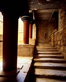 The staircase of the royal apartments of the eastern wing of Knossos Palace, Crete (Greece). Minoan Civilization, 16th century BC.