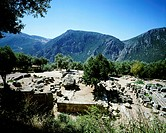 The Temple of Athena Pronaia in Delphi, Greece. Greek civilization, 6th Century BC.