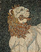 Alexander the Great and Hephaestion during a lion hunt, ca 320 BC, mosaic in peristyle house 1 (The House of Dionysos), Room C, Pella, Greece. Detail ...