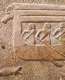 Ship transporting timber, detail from a relief from Sargon Palace in Khorsabad, Iraq. Assyrian civilisation, 8th Century BC.  Paris, Musée Du Louvre