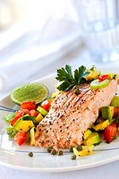 Atlantic salmon with an avocado and tomato salsa.