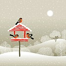 Winter forest landscape with red birdfeeder and bullfinches. Vector illustration with clipping mask.