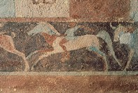 Tomb Of the Hunter, detail from an interior. Tarquinia (Lazio). Etruscan civilization, 4th Century BC.