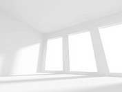 3D Illustration of Empty White Room