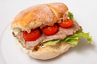 Beef steak sandwich with tomato and lettuce