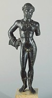 Votive bronze statuette depicting Aplu or Apulu, the Etruscan God of Thunder and Lightning, front view. Etruscan civilization, 4th Century BC.