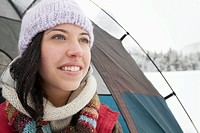 Woman in tent in the wintery countryside (thumbnail)
