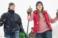 Friends snowshoeing together