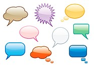 Collection of fun colorful vector chat or speech bubbles.