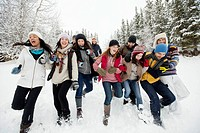 Group of adults enjoying the wintery outdoors