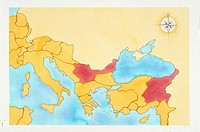 Ancient Rome. Map of Roman Empire under Emperor Tiberius rule, 1st century AD. Color illustration