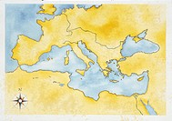 Ancient Rome. Map of Mediterranean Basin. Color illustration