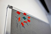 Small flags on pin board