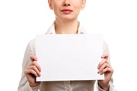 Businesswoman holding a blank page