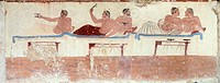 Symposium scene, ca 480-490 BC, decorative fresco of the north wall of the Tomb of the Diver at Paestum, Campania, Italy. Ancient Greek civilization, ...