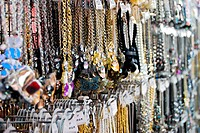 variety of jewelry and necklace in market