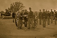 Washington, District of Columbia. Artillery group 3d Regiment Mass. H. Art. Fort Totten 1864