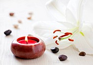 wellness concept with candle and liy