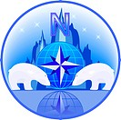 Emblem of North Pole with polar bears in a vector