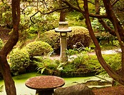 Stone monument in Japanese garden