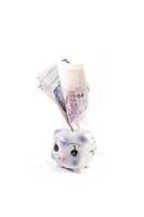 piggy bank with too much money