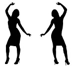 Isolated silhouettes of two Sexy Female Models Dancing.